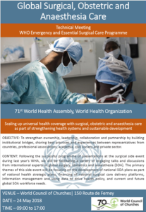 WHA 71 Global Surgery Side Event May 2018